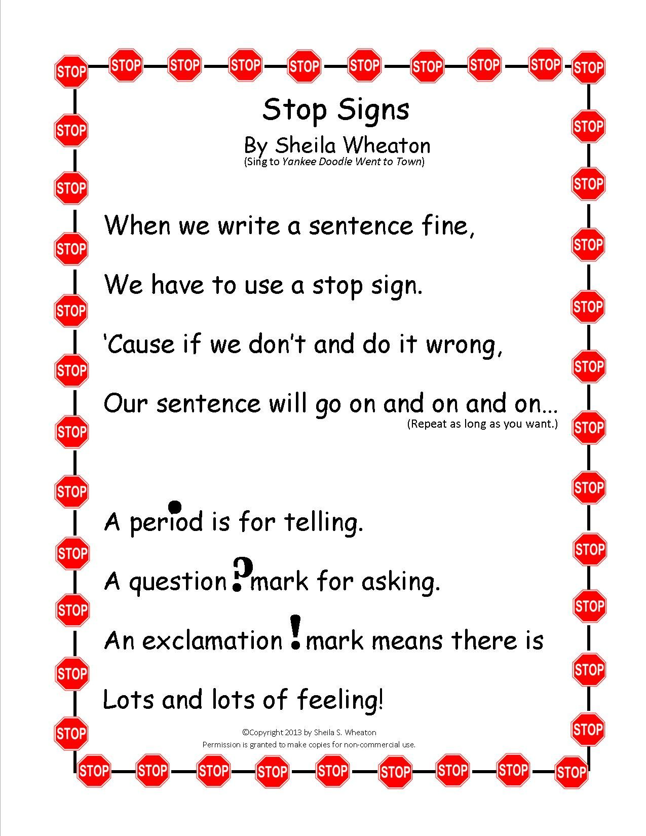 Stop Signs Song Song To Teach Punctuation