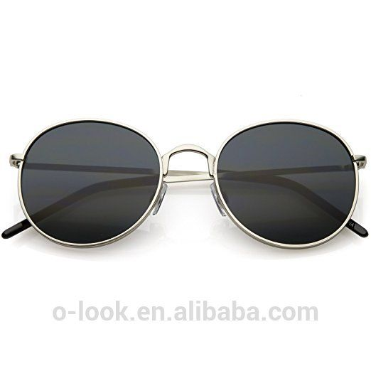 d4c47844a14 Modern Full Metal Frame Neutral Colored Flat Lens Round Sunglasses ...