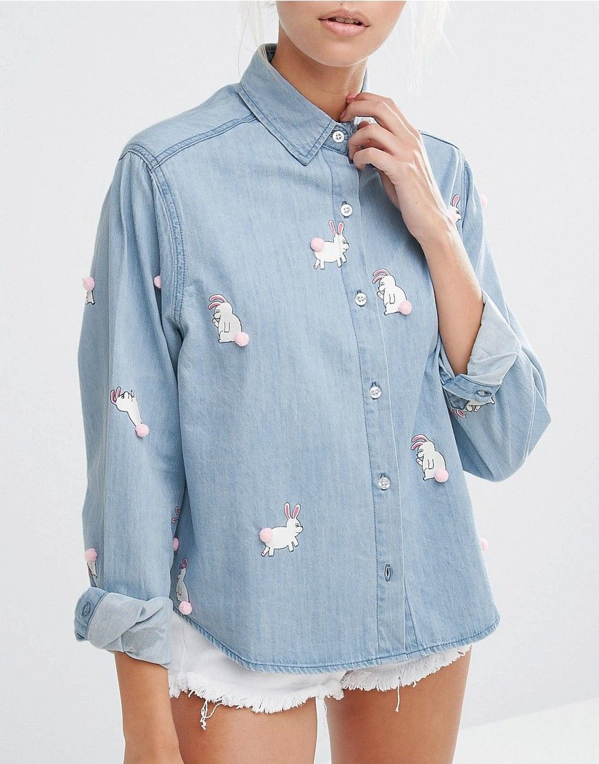 e22f3cdff6b Lazy Oaf Denim Shirt With Pom Pom Bunnies
