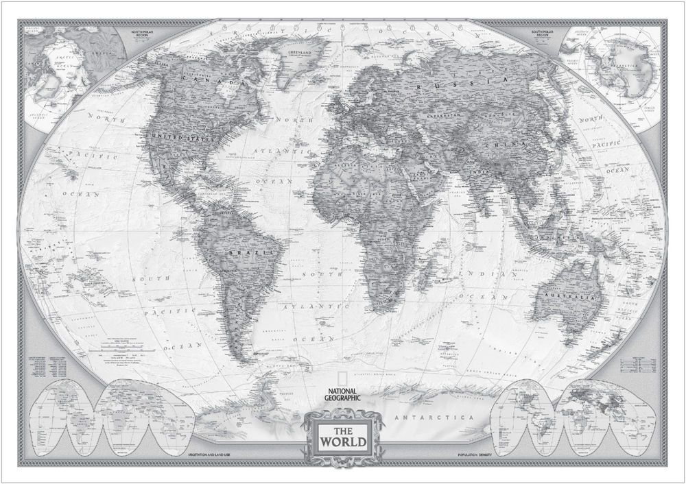 Antique world map mercator projection cartography vintage clip vintage world map large poster art print black white in card or black and white gumiabroncs Gallery