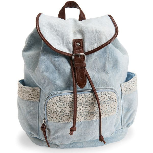 6283cedef588 Aeropostale Crochet Denim Backpack ( 25) ❤ liked on Polyvore featuring bags