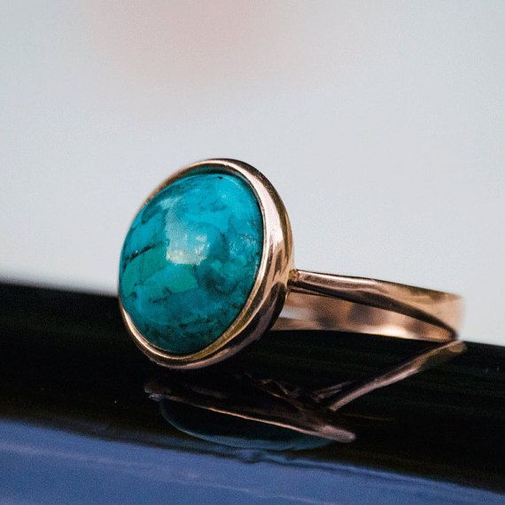 Statement Ring Turquoise Gold Ring Turquoise Ring December