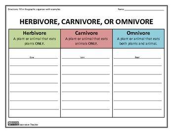 Herbivore carnivore omnivore worksheets 4th grade herbivore carnivore omnivore graphic organizer graphic rh pinterest com ccuart Choice Image