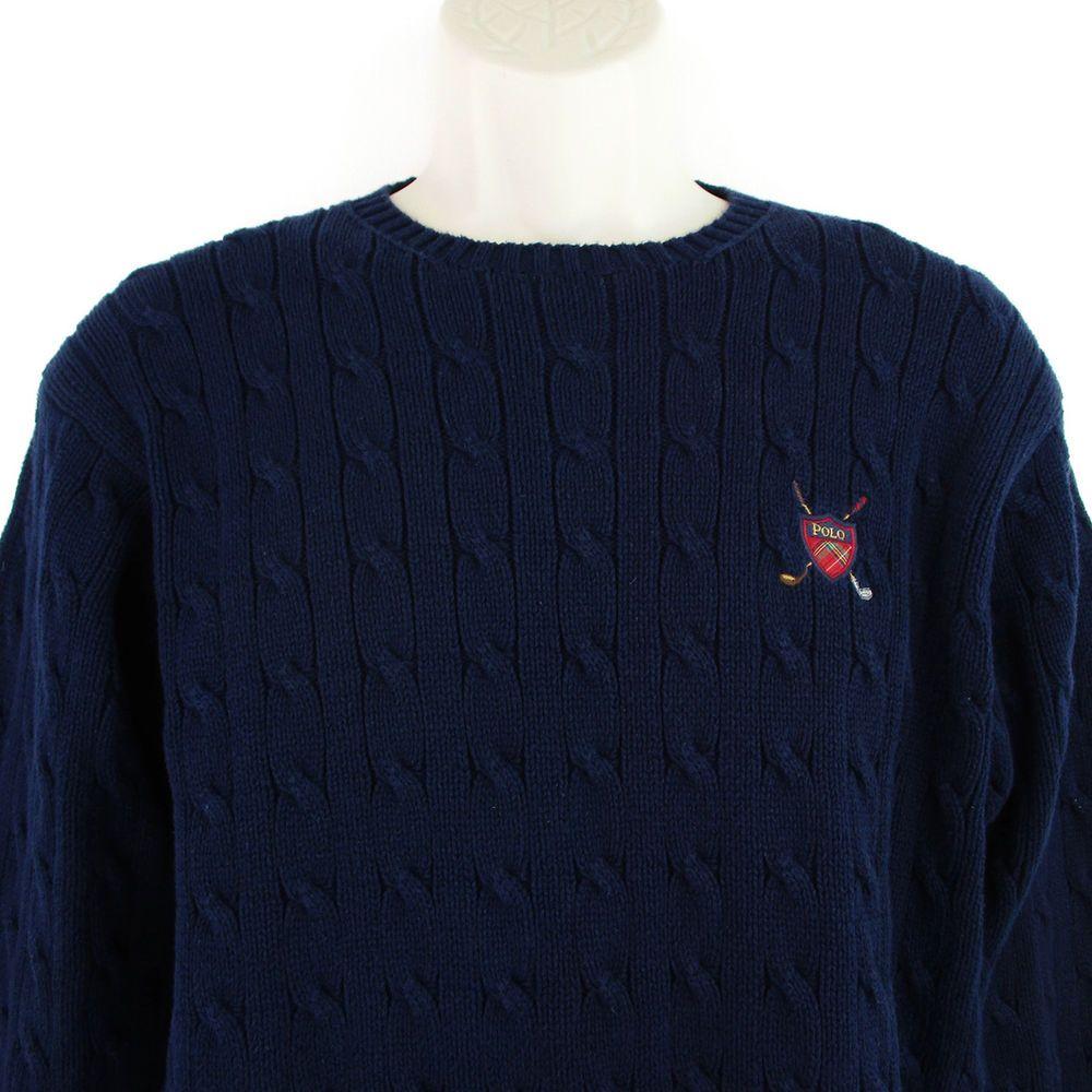 f8798a8a332 Polo Golf Ralph Lauren Sweater Size Small Mens S Vtg Navy Blue Cable Knit  Crest  RalphLauren  Crewneck