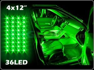 new 4pc green led interior light kit for all cars w accent neon glow