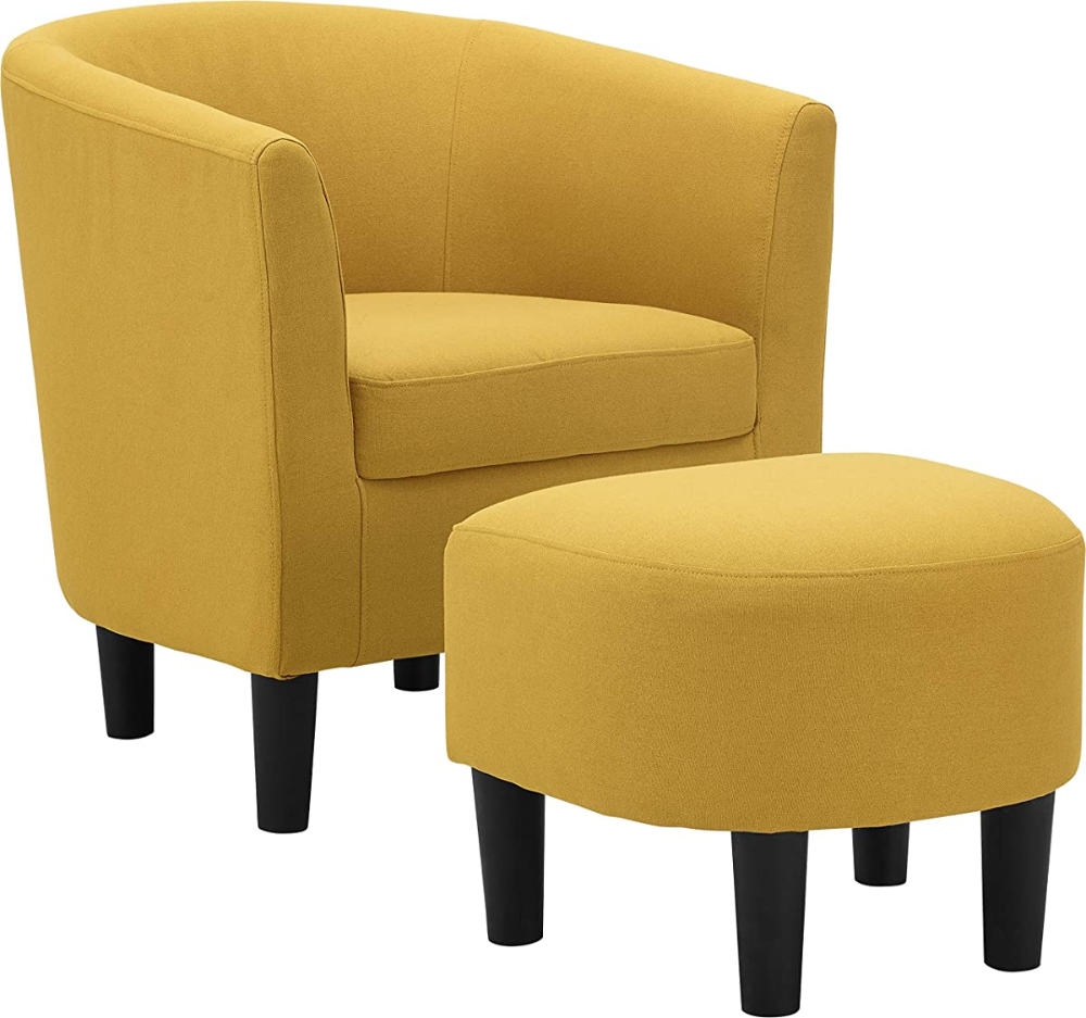 Dazone Modern Accent Chair Upholstered Arm Chair Linen Fabric Single Sofa Barrel Chair With Ottoman Foo Fabric Accent Chair Armchair With Ottoman Accent Chairs
