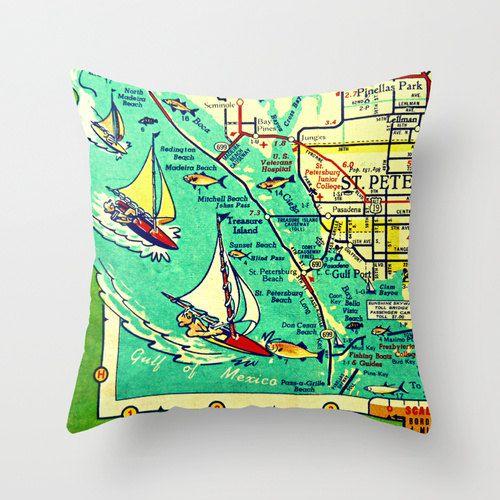 Madeira Beach Florida Map.St Petersburg Map Pillow Pass A Grille Beach House Decorative