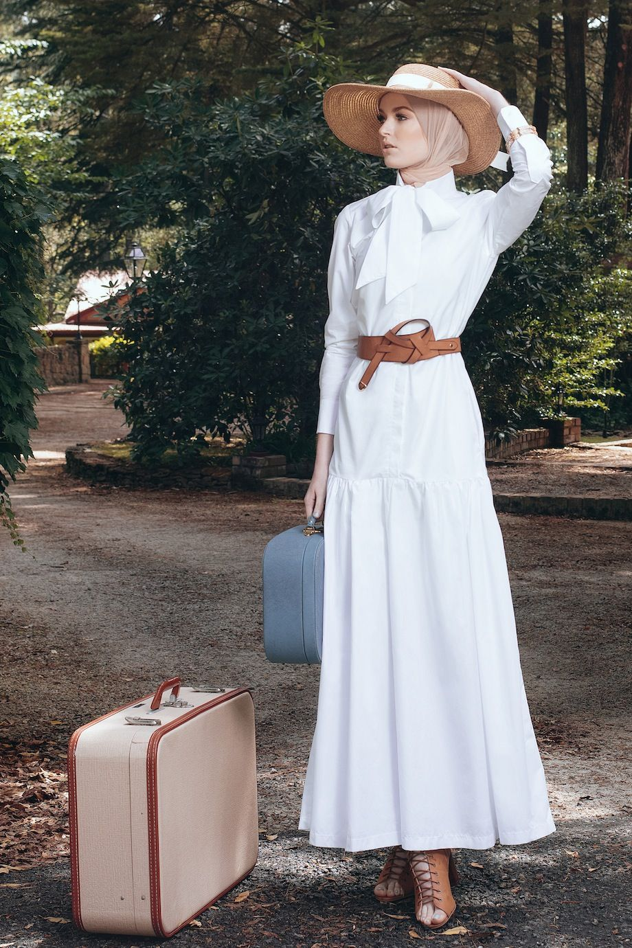 European Western Vintage Inspired Retro Hijab Fashion Diana Kotb Baroness Dress In White Hijab