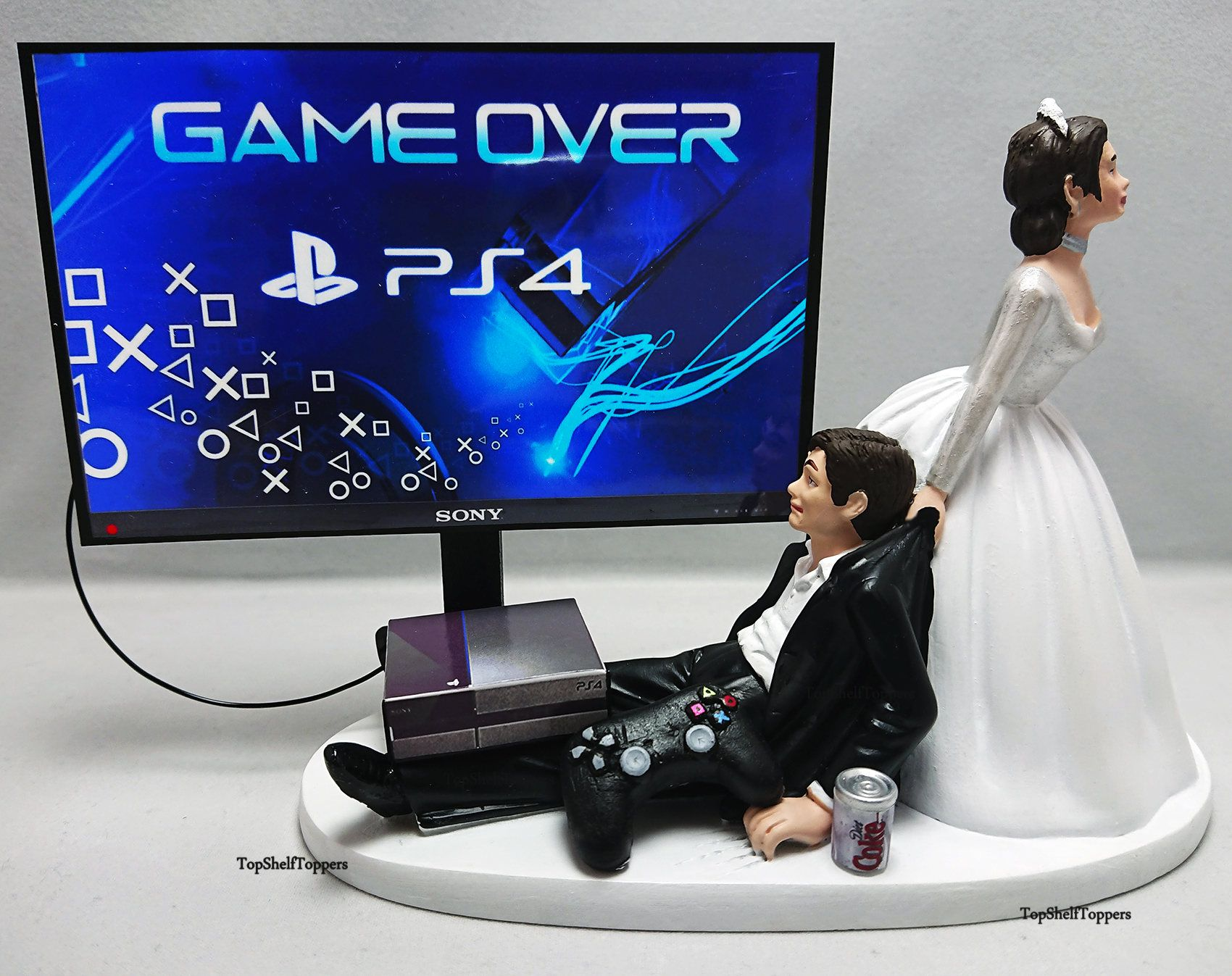 Wedding Cake Topper Game Over Ps4 Funny Gamer Grooms Cake