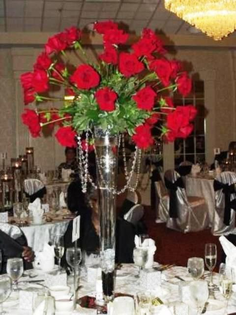 Tall red rose wedding centerpieces roses centerpiece