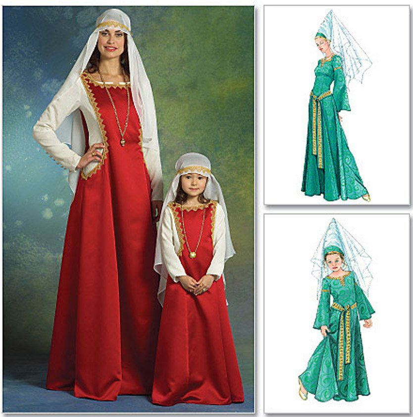 Costume Medieval Damsel Cone Hat Veil Gown Halloween Costume Sewing ...
