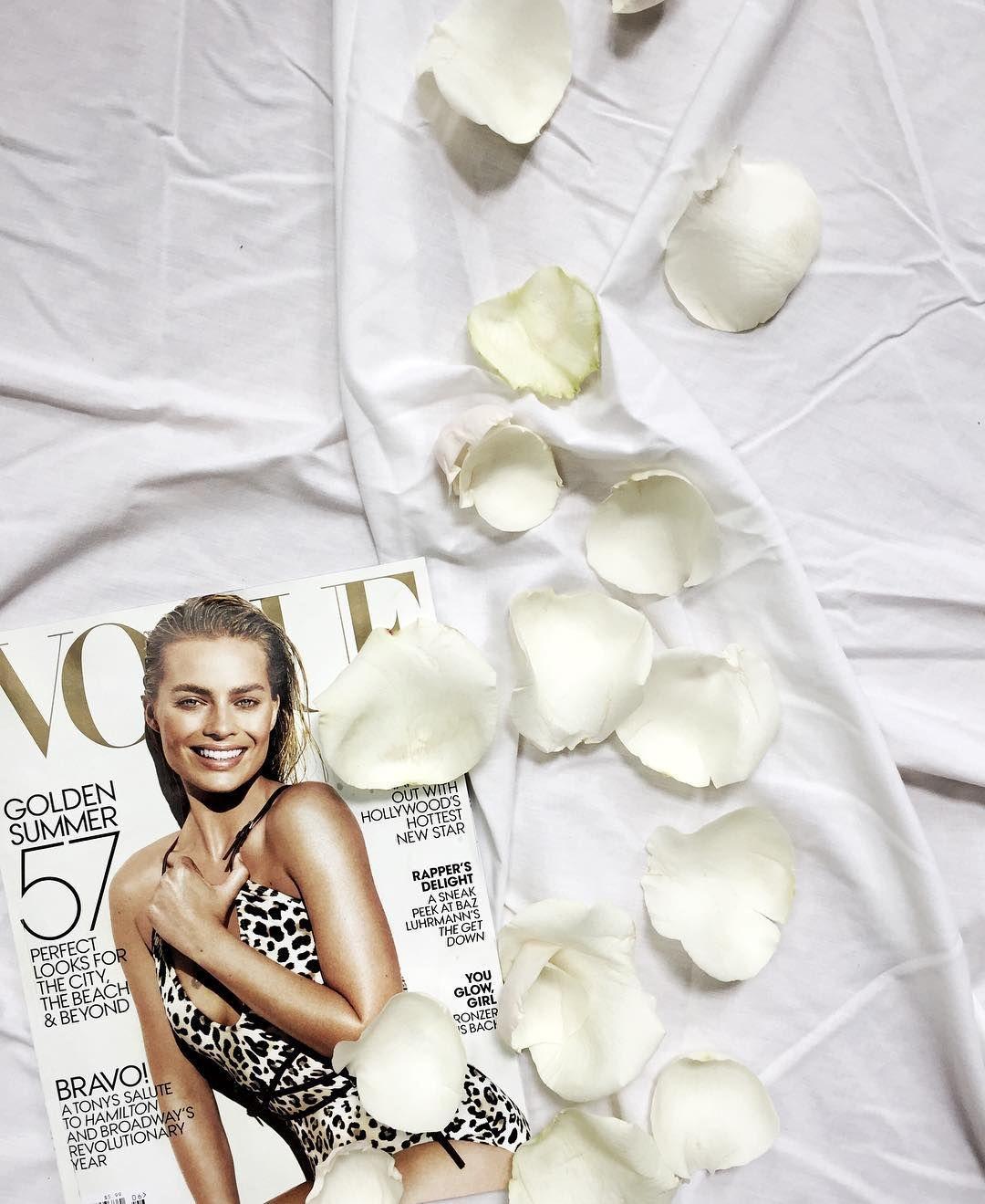 Not much better than reading @voguemagazine x @margotrobbie  with rose petals