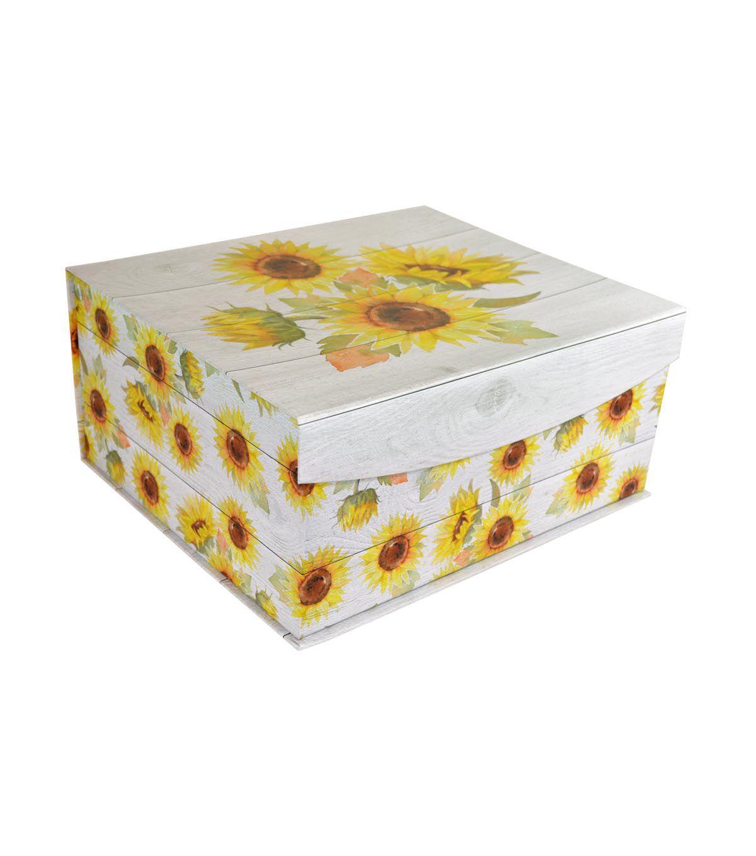 Fall Large Decorative Flip Top Storage Box Sunflower Farm
