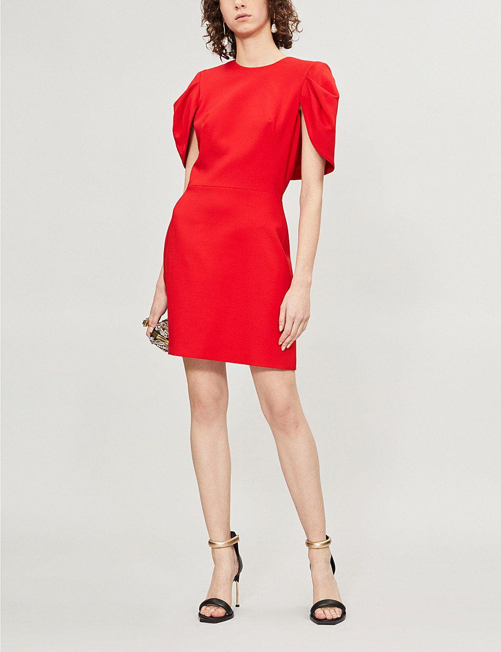 38e9c50d66 ALEXANDER MCQUEEN Cape-back wool-blend dress in 2019 | Dresses ...