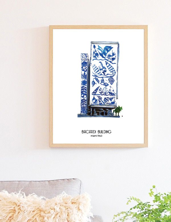 Miami Bacardi building, great gift for anyone with a miami connection. Illustration by Emilka.