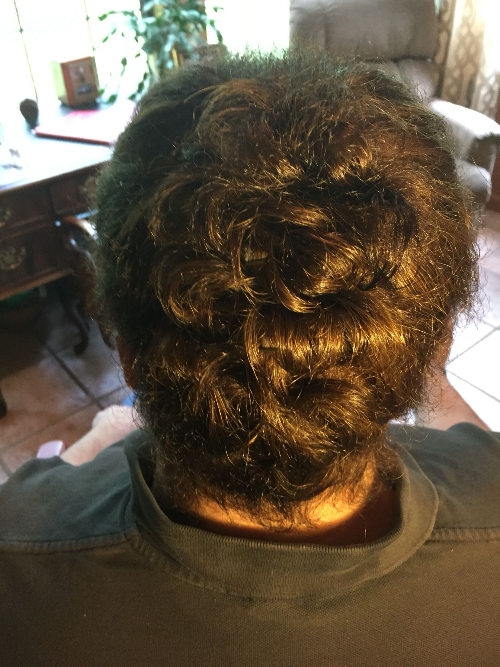 Updo on short (between ear and shoulder length) hair