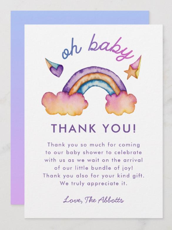 Rainbow Baby Shower Thank You Card | Zazzle.com | Baby ...