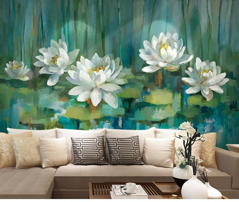 Oriental Ink Lotus Wallpaper Wall Murals Dark Green Leaves White Flowers Wall Stickers Wall Decals Summer View Wall Decor Wall Art Lotus Wallpaper Wall Murals Wall Wallpaper Green and white wallpaper for walls