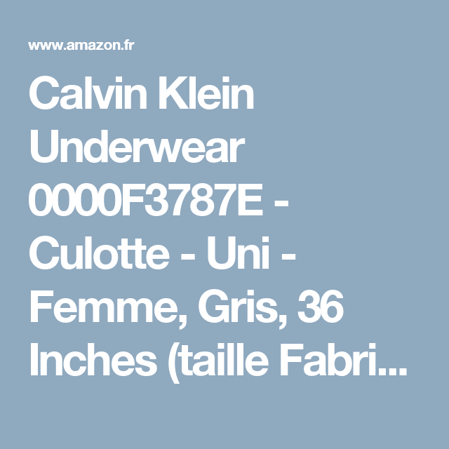 Calvin Klein Underwear 0000F3787E - Culotte - Uni - Femme 8056a488e09