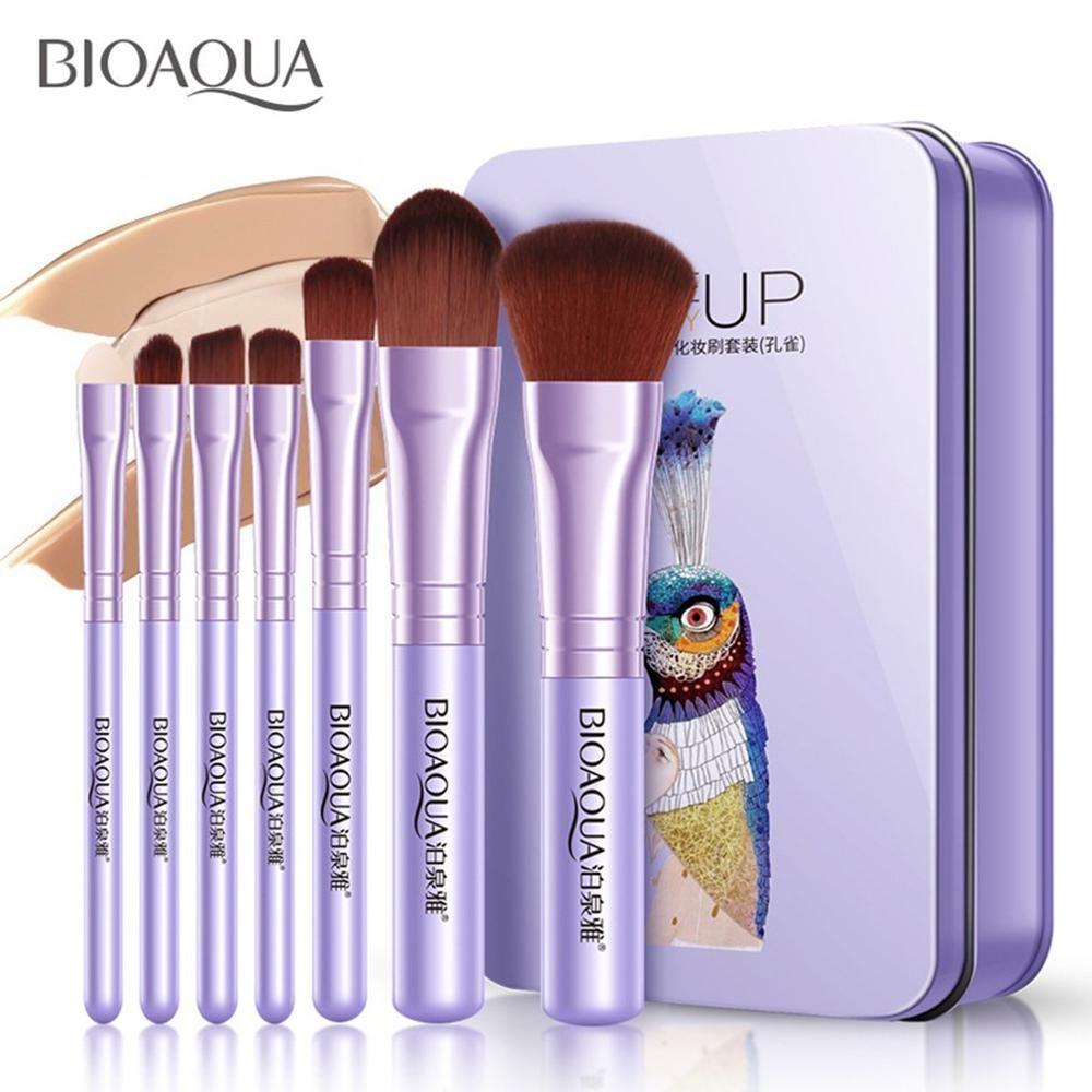 7 Stück Pro Frauen Gesichts Make-Up Pinsel Set Gesicht Kosmetische Schönheit Lidschatten Foundation Erröten Pinsel Make-Up Pinsel Werkzeug BIOAQUA – purple