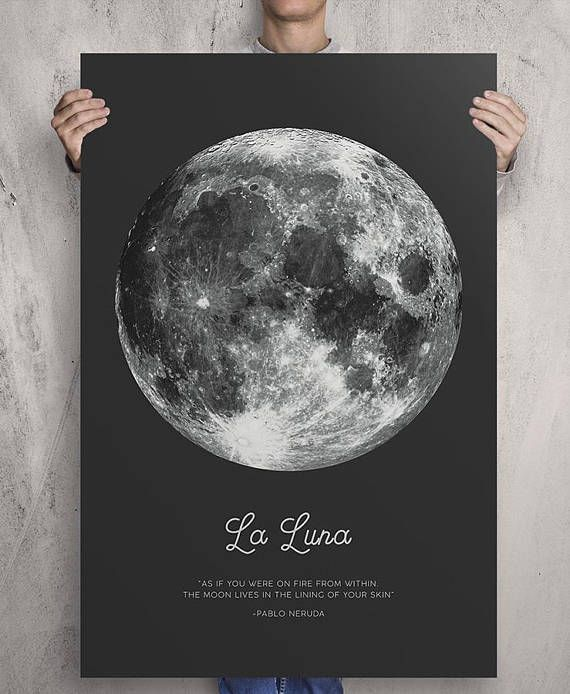 Full Moon Poster. La Luna. Pablo Neruda Quote. Moon Print. Vintage Luna Print. Solar System Art. Astronomy Print. Black Bohemian Poster.