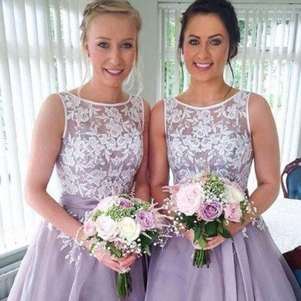 Organza Short Bridesmaid Dresses,Ivory Lace Appliqued Bridesmaid ...