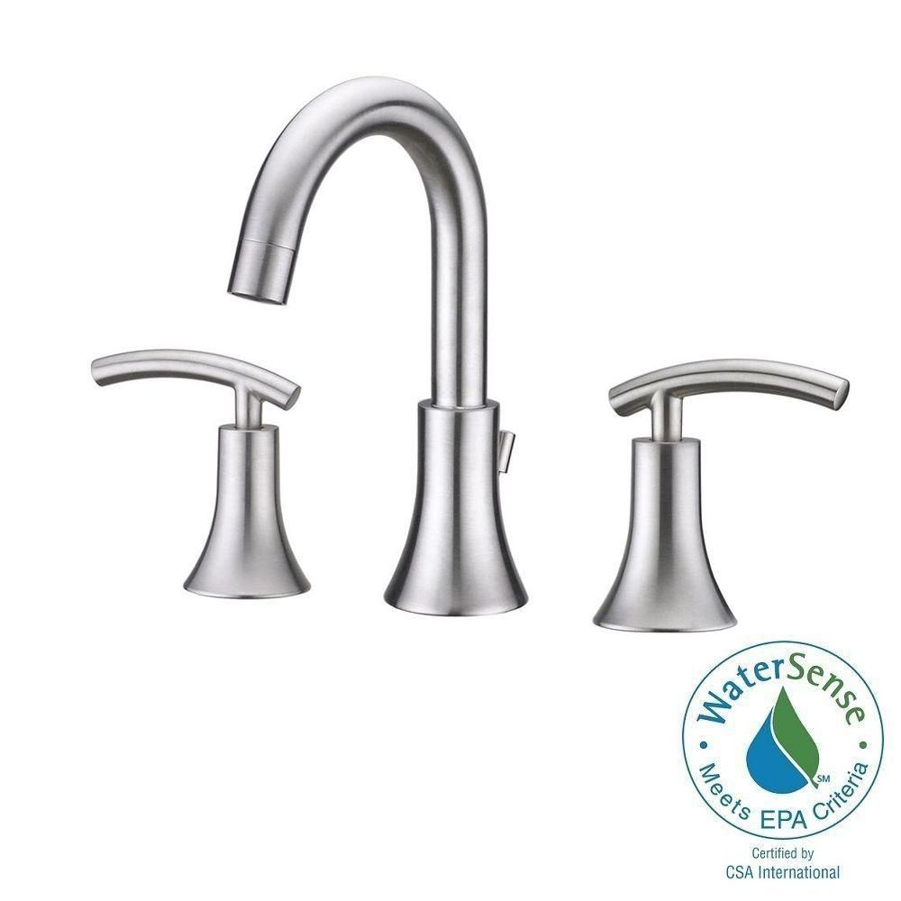 Photo of Ultra taps contemporary 8 inches. Widely used 2-handle bathroom mixer in brushed …