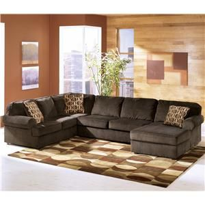 Vista - Chocolate Casual 3-Piece Sectional with Right Chaise by Ashley Furniture - L : 3 piece microfiber sectional - Sectionals, Sofas & Couches