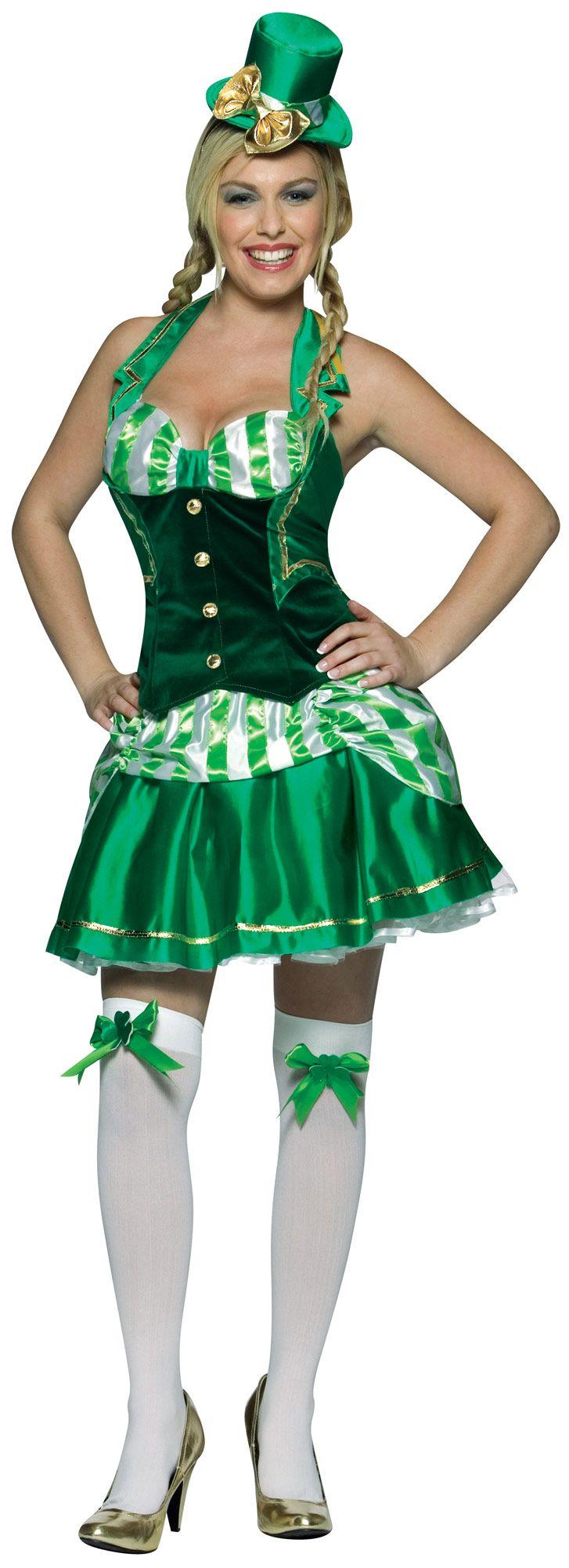 Disfraz irlandesa para mujer: Este disfraz de irlandesa para mujer está compuesto por un top, una falda, una cofia y unas medias. El corsé verde y blanco es de efecto terciopelo. Tiene dos tirantes facilitando su...