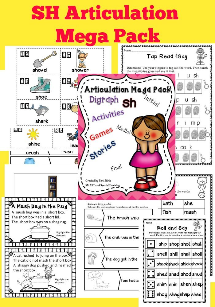 """Speech Therapy Articulation practice Pack for Sh. """"/Sh/ Activities – Initial, Medial, Final – 48 Flash Cards for Sh. Along with 3 /Sh/ Mini-books. These are fantastic low prep pack for targeting /sh/. Over 90 pages All activities in color and black and white."""