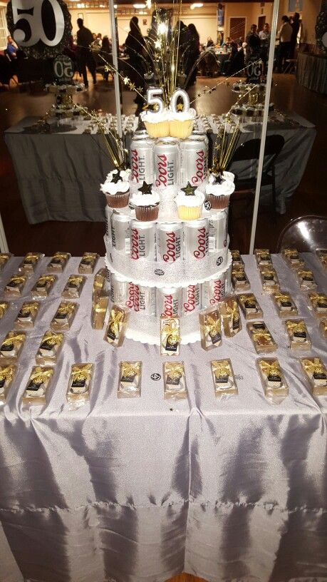 50th Birthday Beer Tower Birthday Cake With Cupcakes And