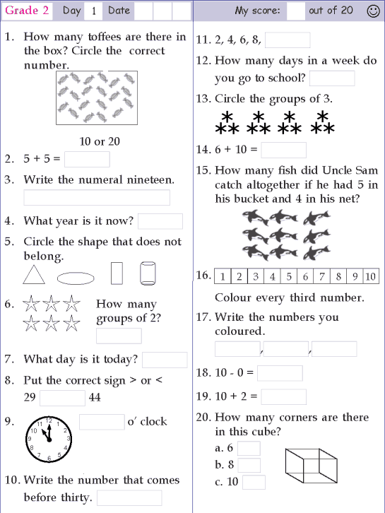 This is a great link Grade 2 Mental Math 50 different – Class 2 Maths Worksheets