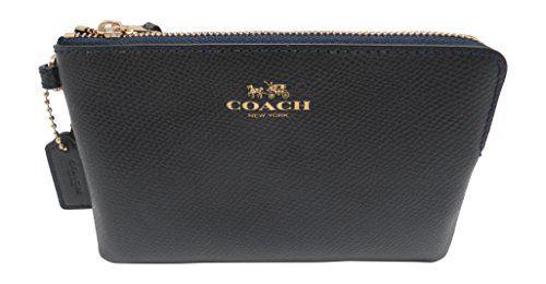 Coach Crossgrain Leather Corner Zip Wristlet - Midnight