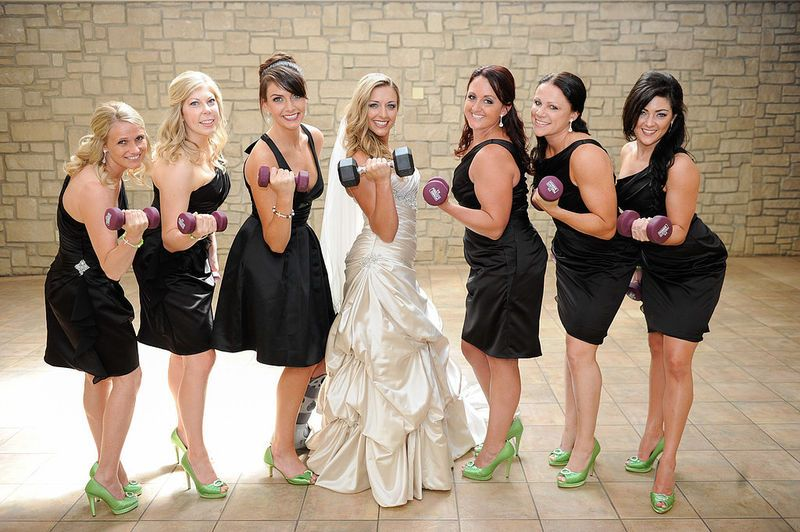 Fitness Themed Wedding Brides and bridesmaids The ojays and