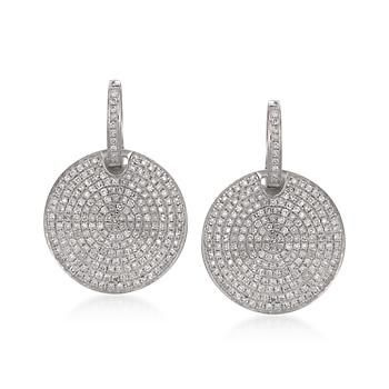 T W Pave Diamond Disc Earrings In 14kt White Gold Click On The To View More Like This From Ross Simons