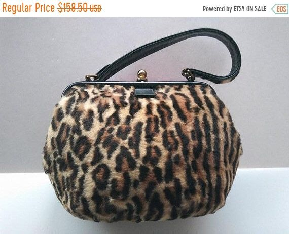 8e1195a5fbab 10 Store Wide Sale Going On Now. till the end of March. ON SALE 1960's Vintage  Leopard Faux Fur Handbag ...