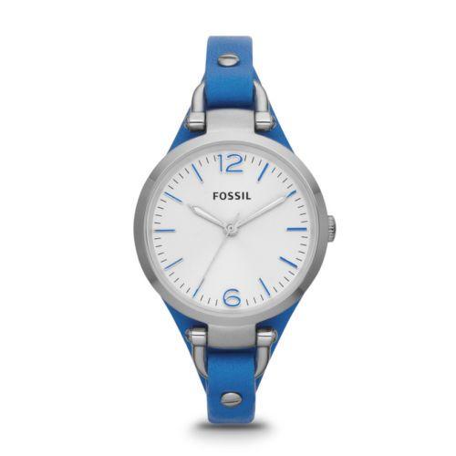 Fossil Women'S Georgia Three Hand Leather Watch Blue – ES3297 NEW | eBay