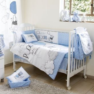 Disney Blue Winnie The Pooh Hello 4 Piece Crib Bedding Set