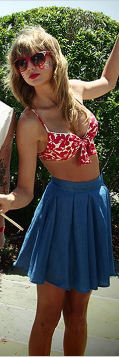 Taylor Swift, red cherry print bikini and blue pleated skirt LOVE THE OUTFIT!!!