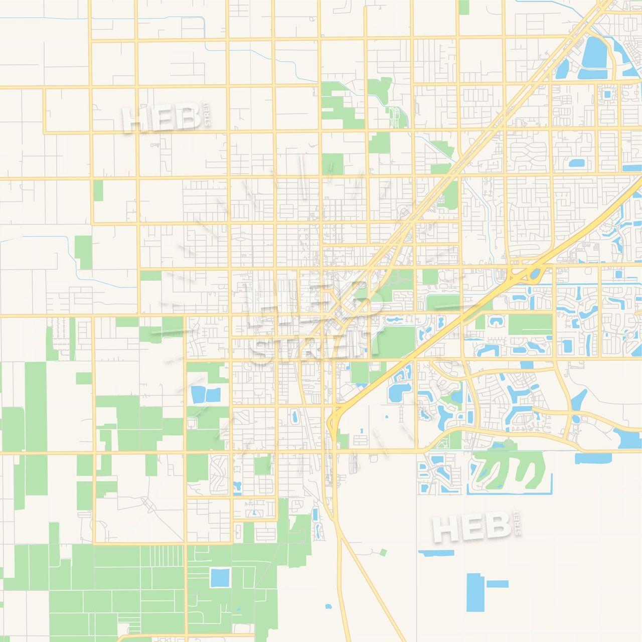 Empty vector map of Homestead, Florida, USA | Maps Vector ...