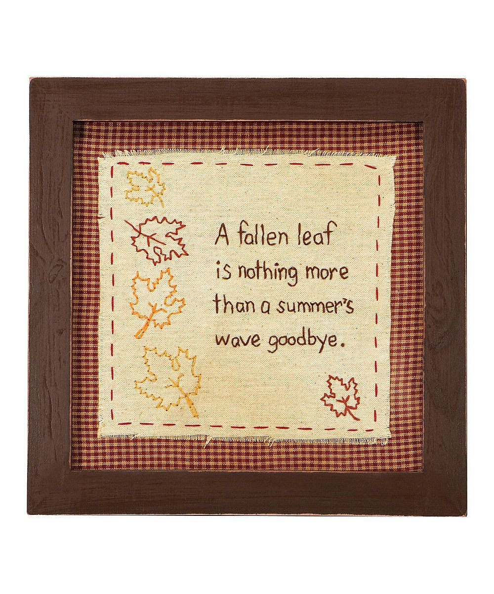 Take a look at this \'A Falling Leaf\' Stitchery Wall Art on zulily ...