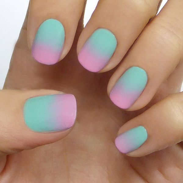 Ombre Turquoise Pink Matte Nails