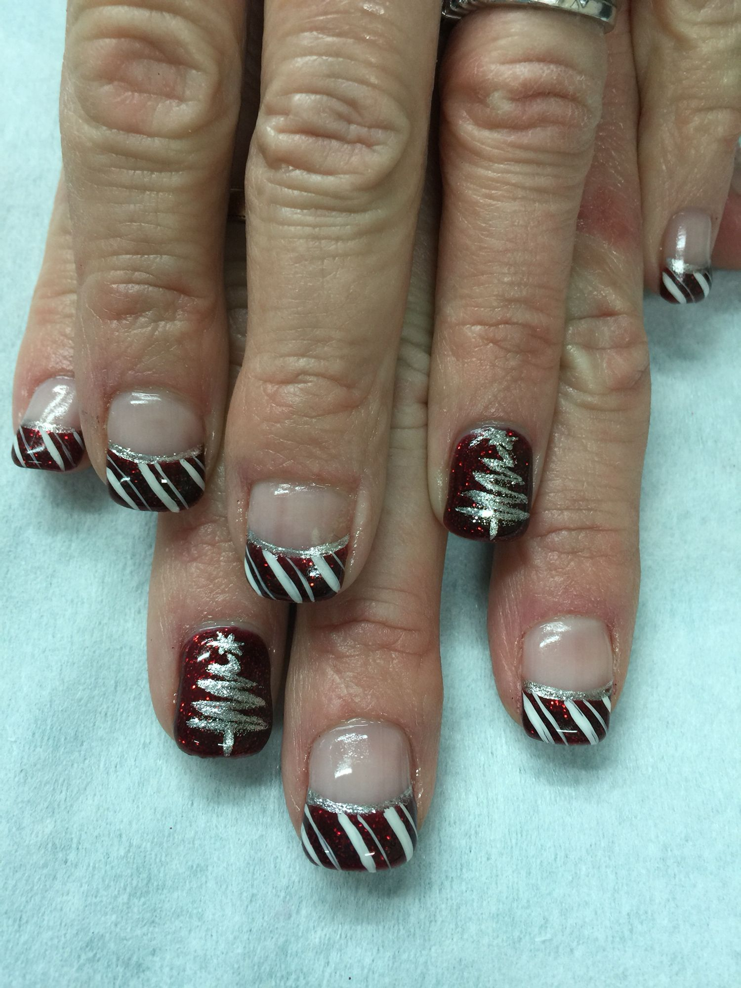 Red Glitter, Candy Cane, Christmas Tree gel nails. All done with non ...