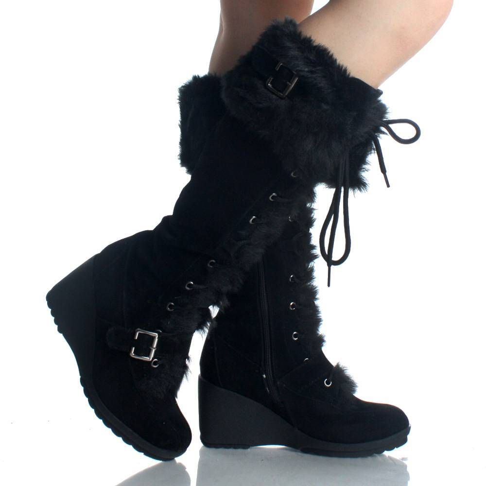 Black Suede Fur Winter Lace Up Wedge High Heel Womens Mid