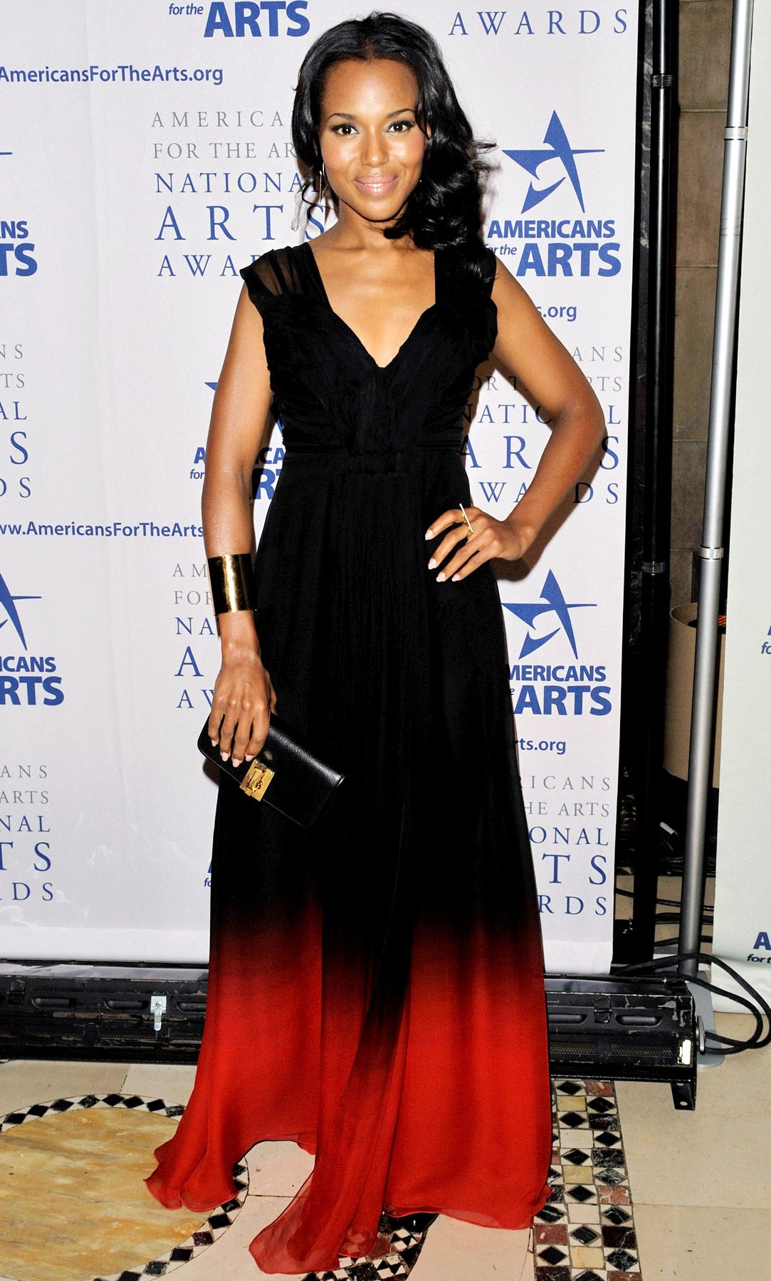 Kerry washingtonus red carpet style evolution ombre gown kerry