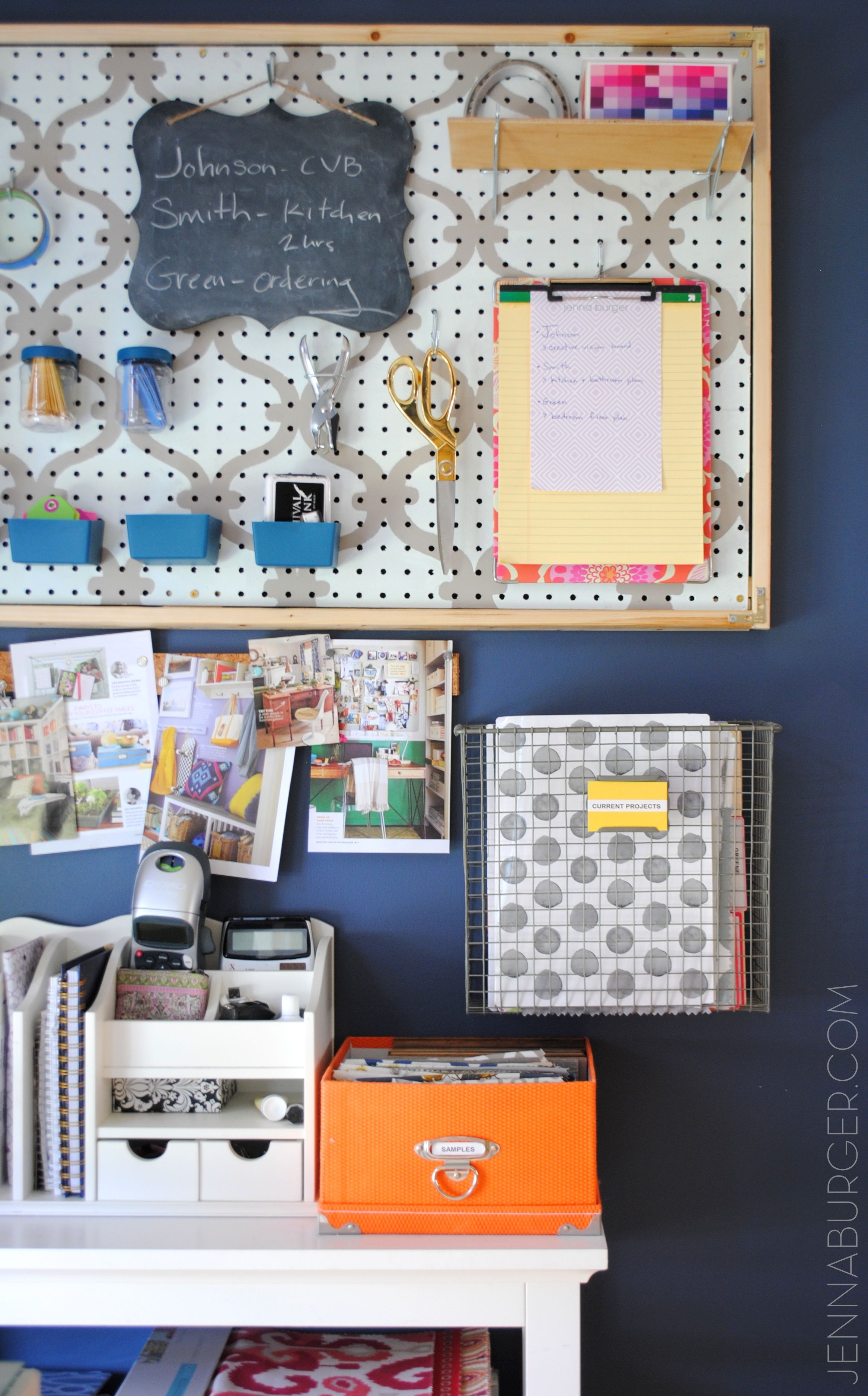 WORK SPACE REVAMP: Getting Organized And Creating An Office Command Center  Using A Framed Pegboard