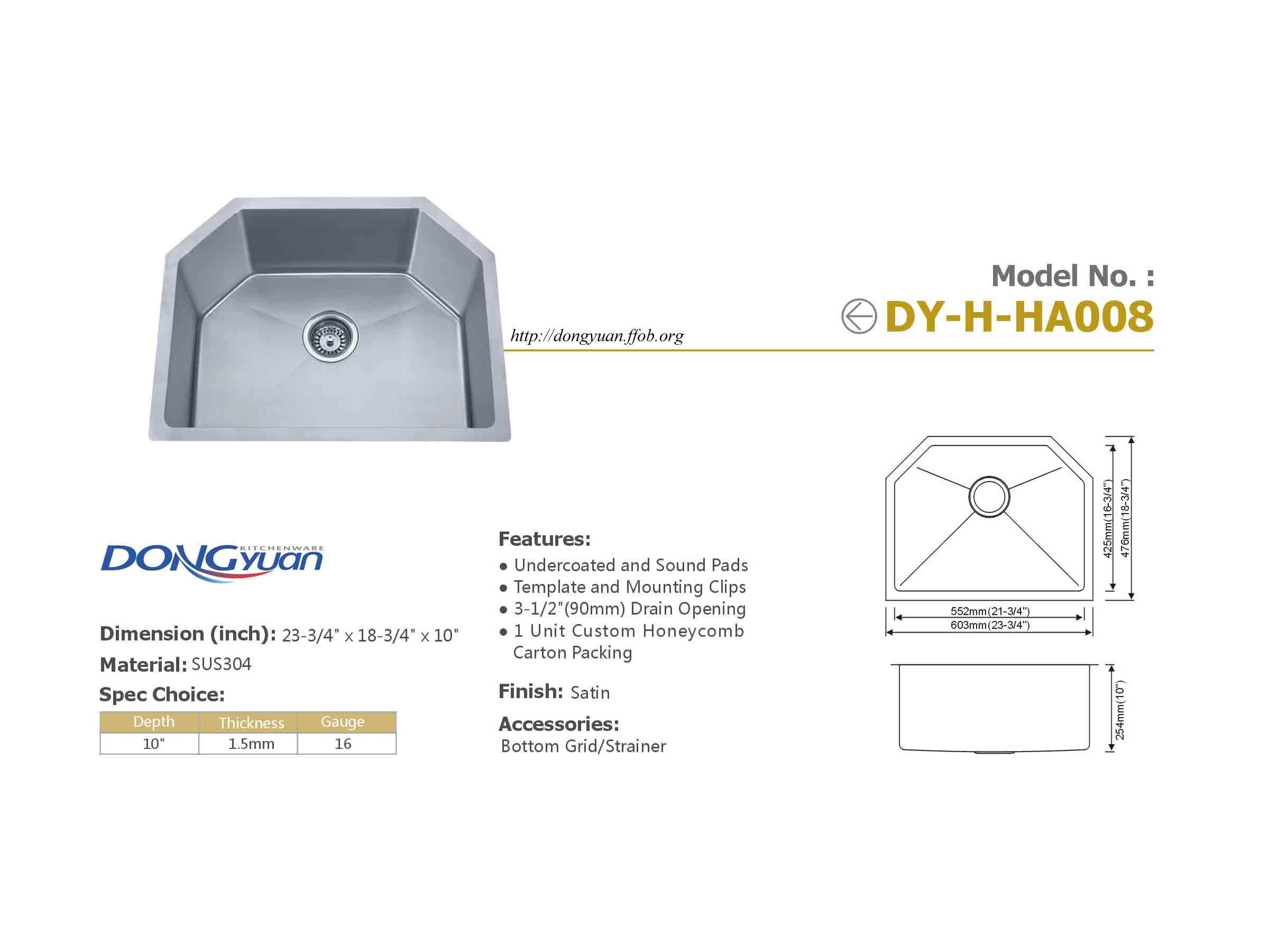 Dongyuan 24 Inch 304 Stainless Steel 16 Gauge Handmade Single Bowl Kitchen Sink Sink Bathroom Scale Steel