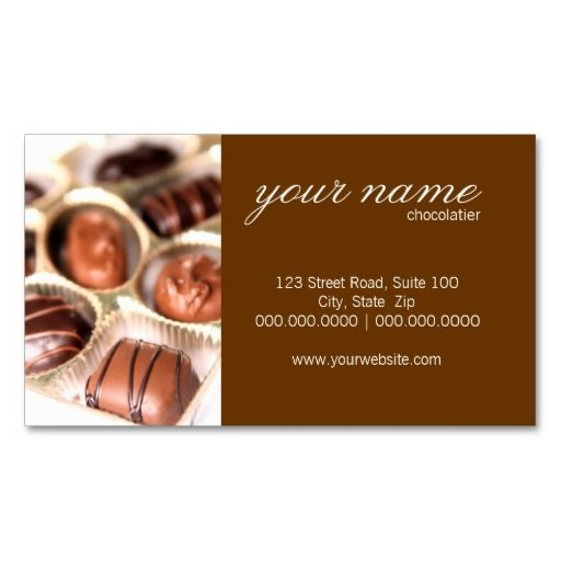 Chocolates Business Cards Business Cards Chocolate Business Card Template