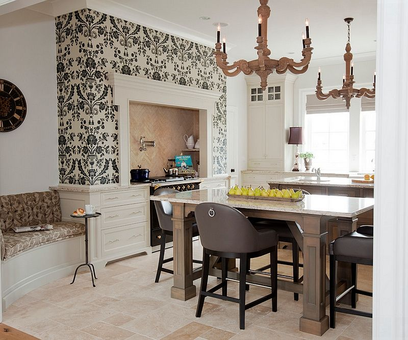 a touch of class for the transitional kitchen kitchen wallpaper
