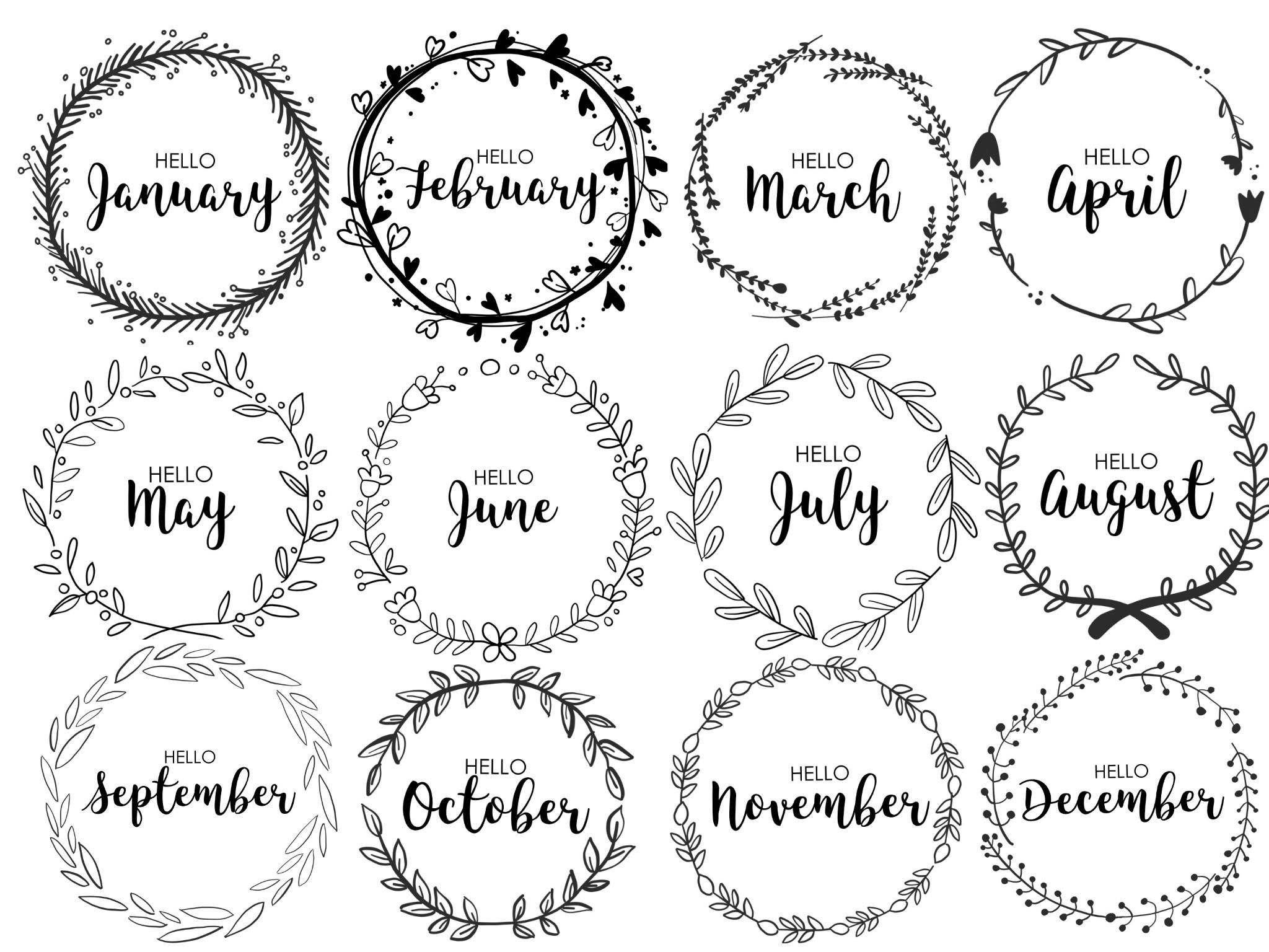 Journal Monthly Covers Wreath Monthly Bullet Journal Printable Bullet Journal Cute